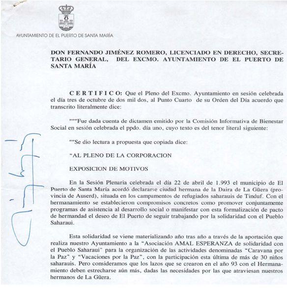 Certificación municipal de la aprobación del hermanamiento